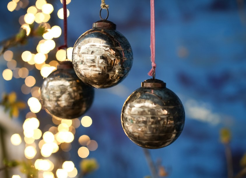 three baubles hanging down