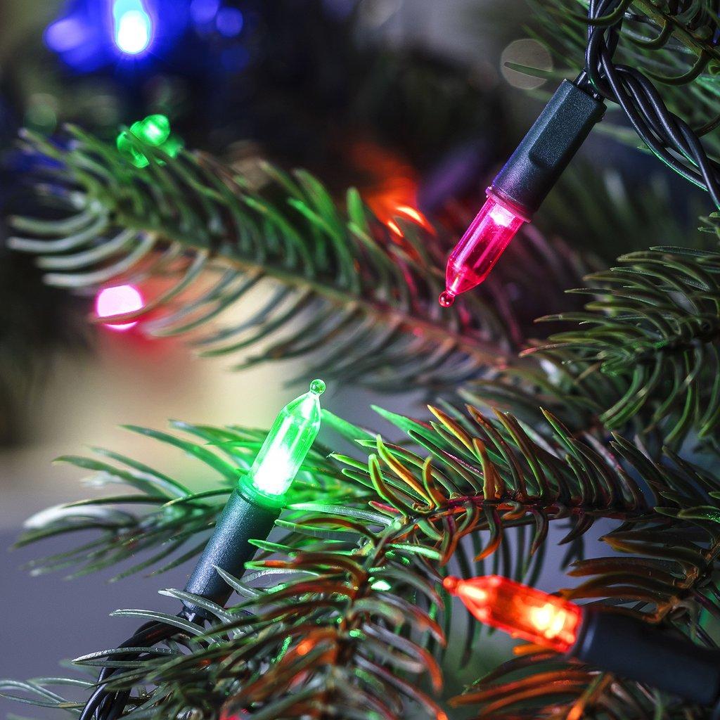 multicoloured LED lights on a christmas tree